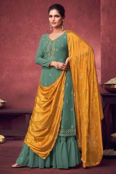 Soft Green Georgette Embroidered Kurta Gharara Set