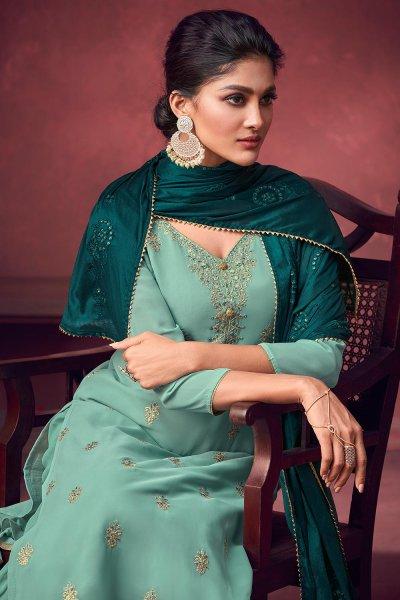 Sea Green Georgette Embroidered Kurta Gharara Set