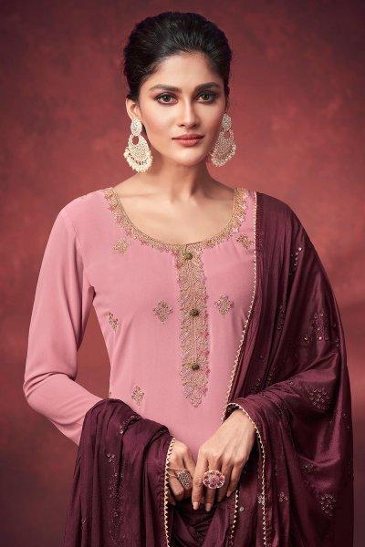Soft Pink Georgette Embroidered Kurta Gharara Set