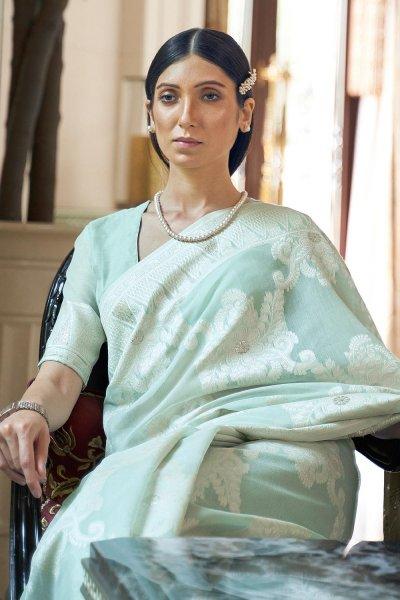 Sea Green Silk Saree with Chikan work