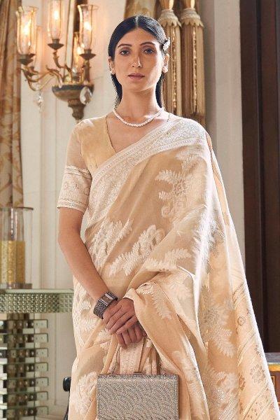 Light Brown Silk Saree with Chikan work
