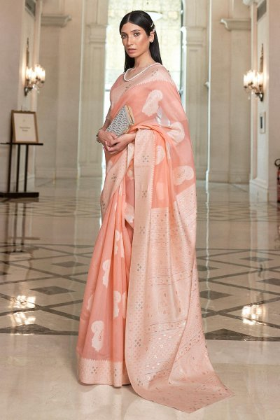 Peach Silk Saree with Chikan work