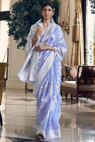 Sky Blue Silk Saree with Chikan work