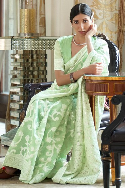 Mint Green Silk Saree with Chikan work