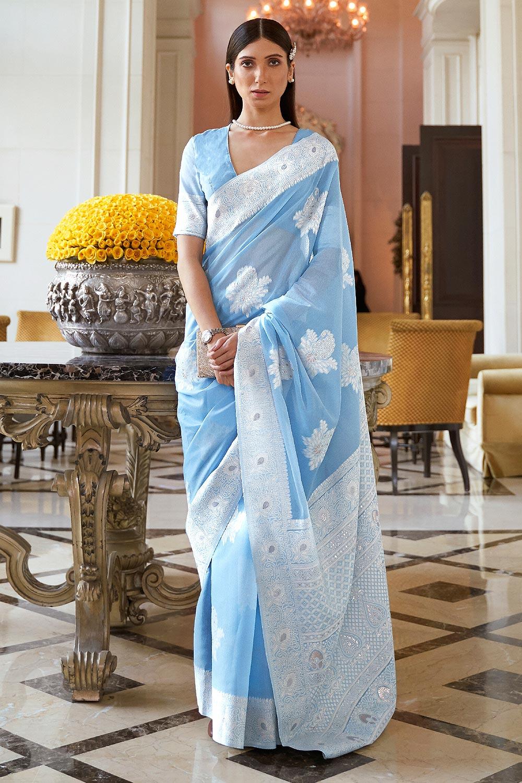 Light Blue Silk Saree with Chikan work