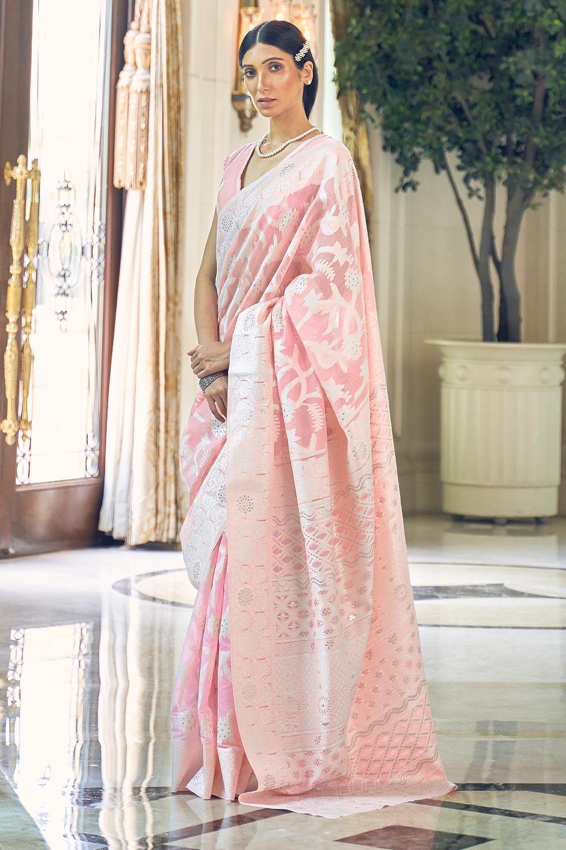 Light Pink Silk Saree with Chikan work