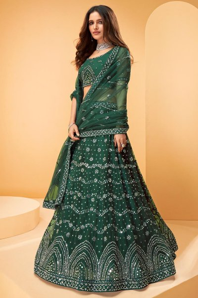 Dark Green Net Embellished Lehenga