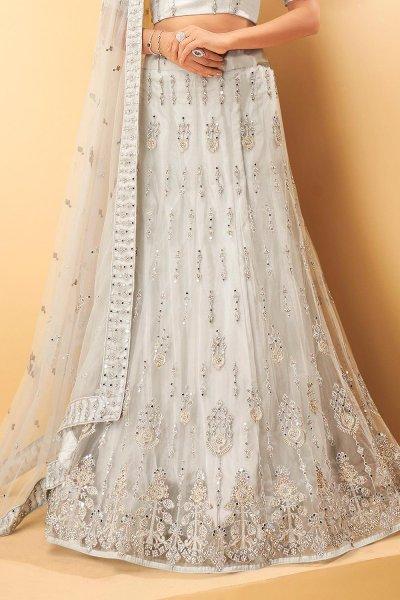 Grey Net Embellished Lehenga