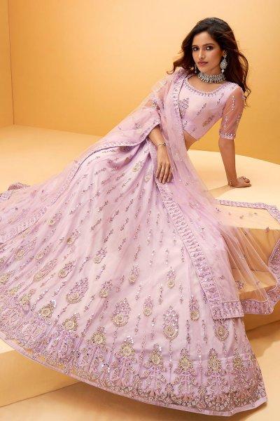 Lavender Net Embellished Lehenga