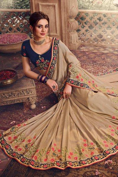 Beige Handloom Silk Embroidered Saree