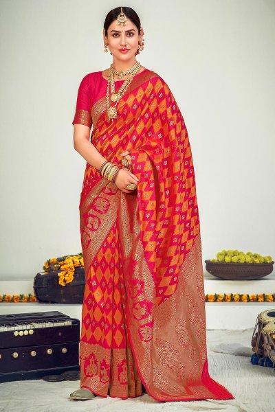 Pink Zari Woven Banarasi Silk Saree