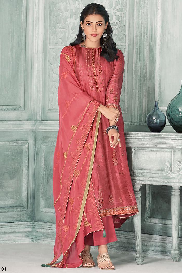 Ready To Wear Coral Pink Zari Embroidered Silk Kurta Set