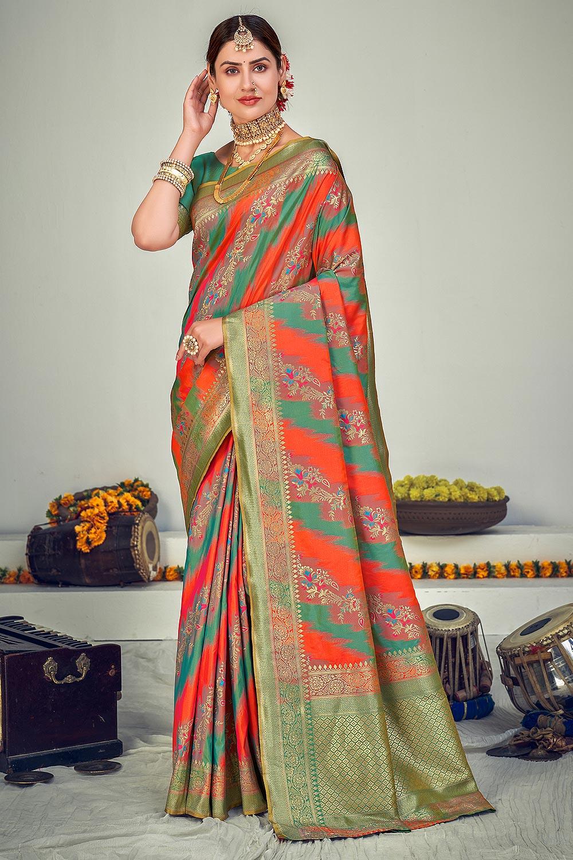 Sage Green Zari Woven Banarasi Silk Saree