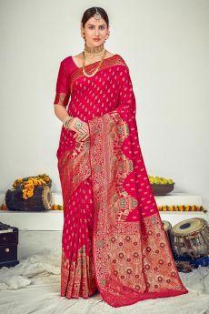 Magenta Zari Woven Banarasi Silk Saree