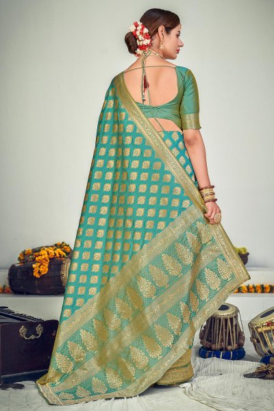 Turquoise Blue Zari Woven Banarasi Silk Saree