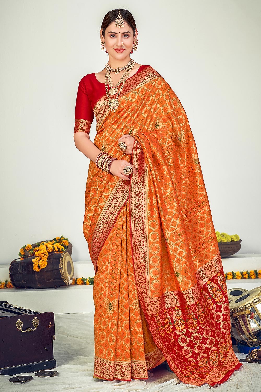 Orange Zari Woven Banarasi Silk Saree