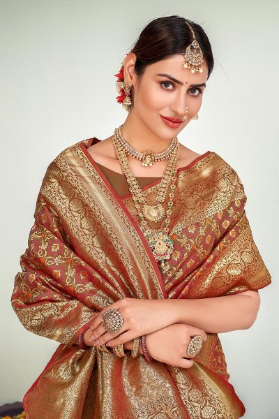 Brown Zari Woven Banarasi Silk Saree