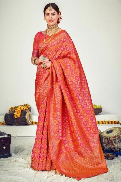 Pink & Orange Zari Woven Banarasi Silk Saree