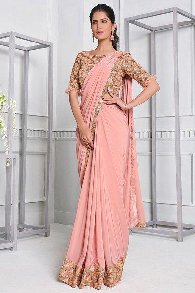 Soft Pink Lycra Designer Saree