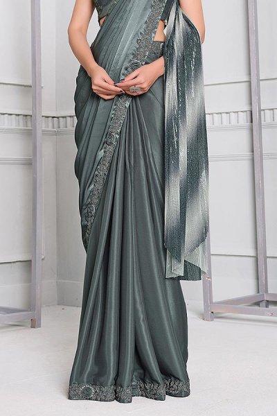 Grey Silk Georgette Designer Saree