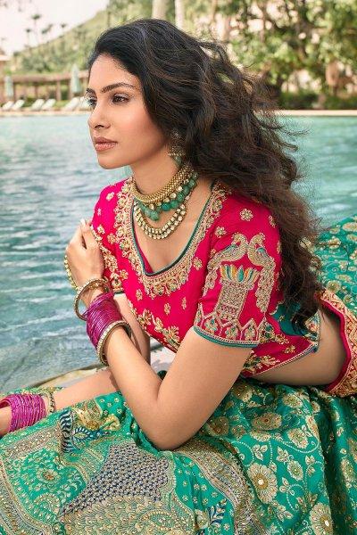 Turquoise Blue And Pink Zari Embroidered Banarasi Silk Lehenga