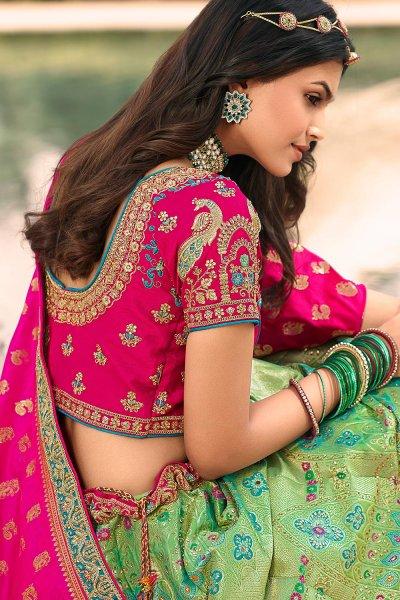 Sea Green And Pink Zari Embroidered Banarasi  Silk Lehenga
