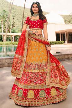 Yellow And Red Zari Embroidered Banarasi Silk Lehenga
