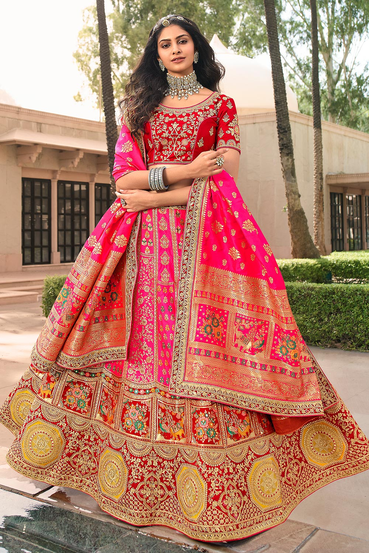 Pink And Red Zari Embroidered Banarasi Silk Lehenga