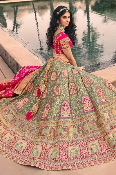 Sage Green And Pink Zari Embroidered Banarasi Silk Lehenga