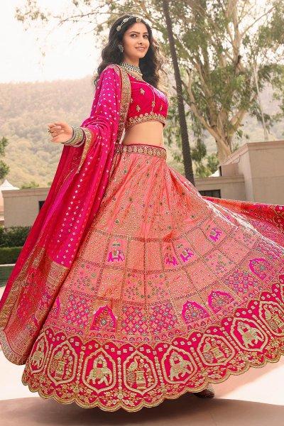 Peach And Pink Zari Embroidered Banarasi Silk Lehenga
