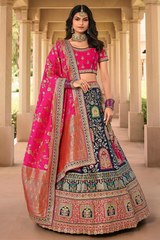 Royal Blue And Pink Zari Embroidered Banarasi Silk Lehenga