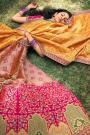Yellow And Pink Zari Embroidered Banarasi Silk Lehenga