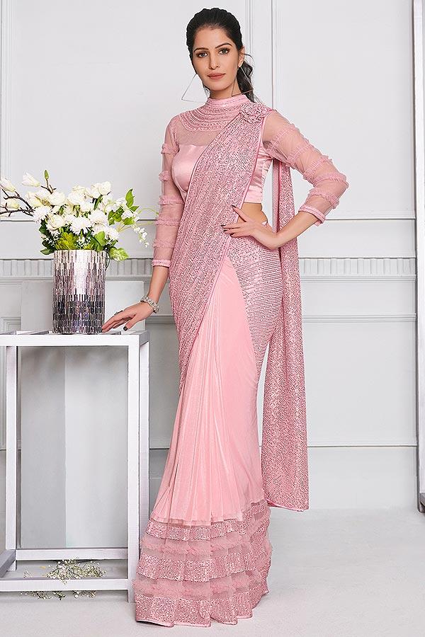 Light Pink Lycra Designer Saree