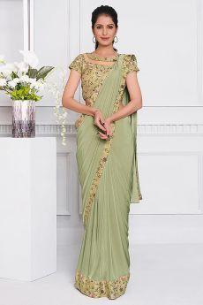 Sage Green  Lycra  Designer Saree