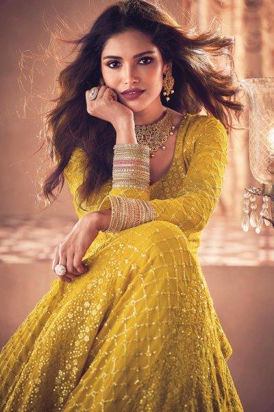 Yellow Embellished Georgette Anarkali Set with dupatta