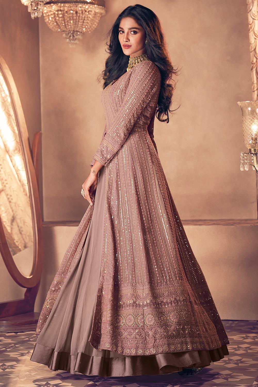 Mauve Embellished Georgette Anarkali Suit with Dupatta