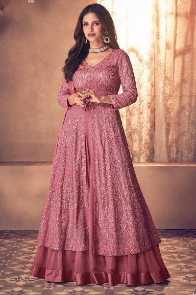 Blush Pink Embellished Georgette Anarkali With Dupatta