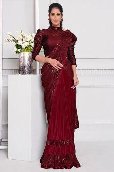 Wine Red Lycra Designer Saree