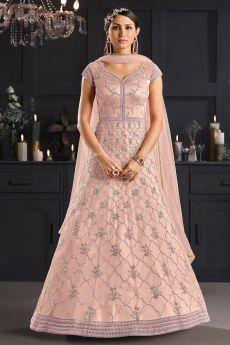 Light Pink Butterfly Net Embellished Anarkali Set