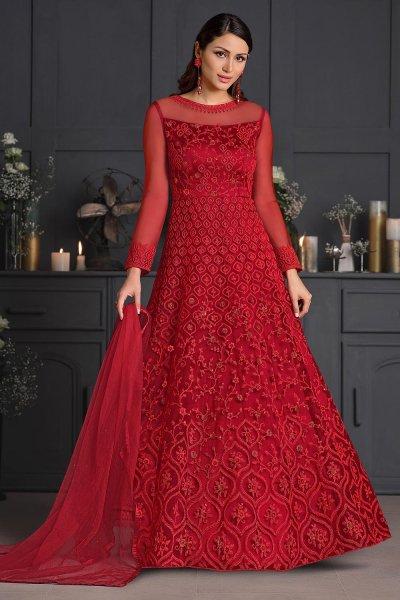 Red Butterfly Net Embellished Anarkali Set