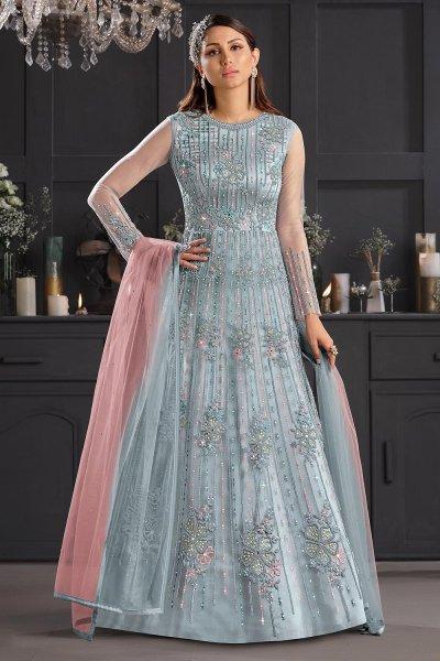 Light Blue Butterfly Net Embellished Anarkali Set