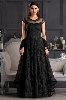Black Butterfly Net Embellished Anarkali Set