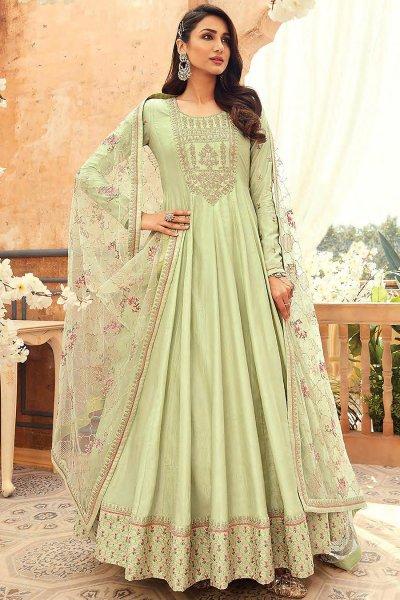 Pista Green Silk Embroidered Anarkali Set