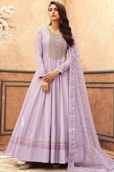 Lilac Silk Embroidered Anarkali Set