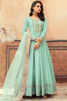 Pale turquoise Silk Embroidered Anarkali Set