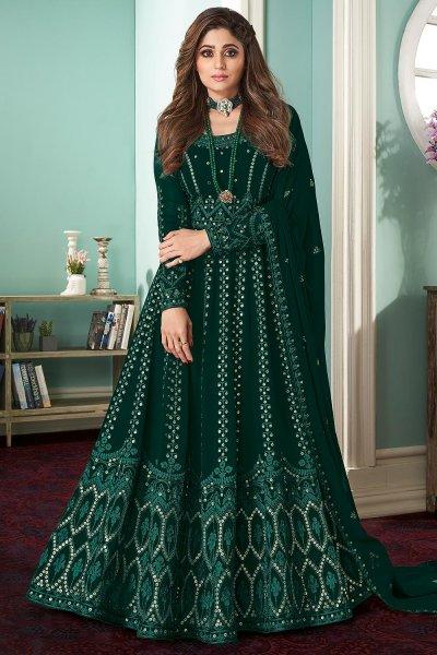Teal Green Georgette  Embellished Anarkali Set