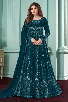 Prussian Blue Georgette  Embellished Anarkali Set