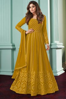 Mustard Yellow Georgette  Embellished Anarkali Set