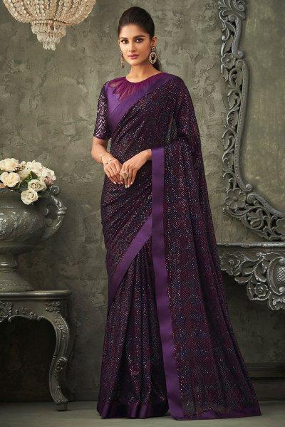 Plum Georgette Sequin Embellished Saree