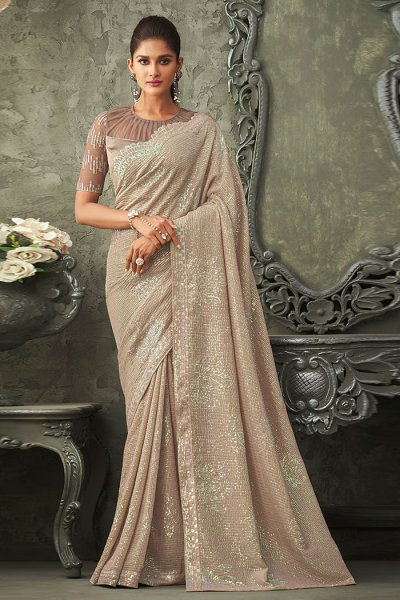 Beige Georgette Sequin Embellished Saree